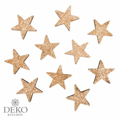 Holz Streuteile Sterne mit Glitter in kaschmirgold