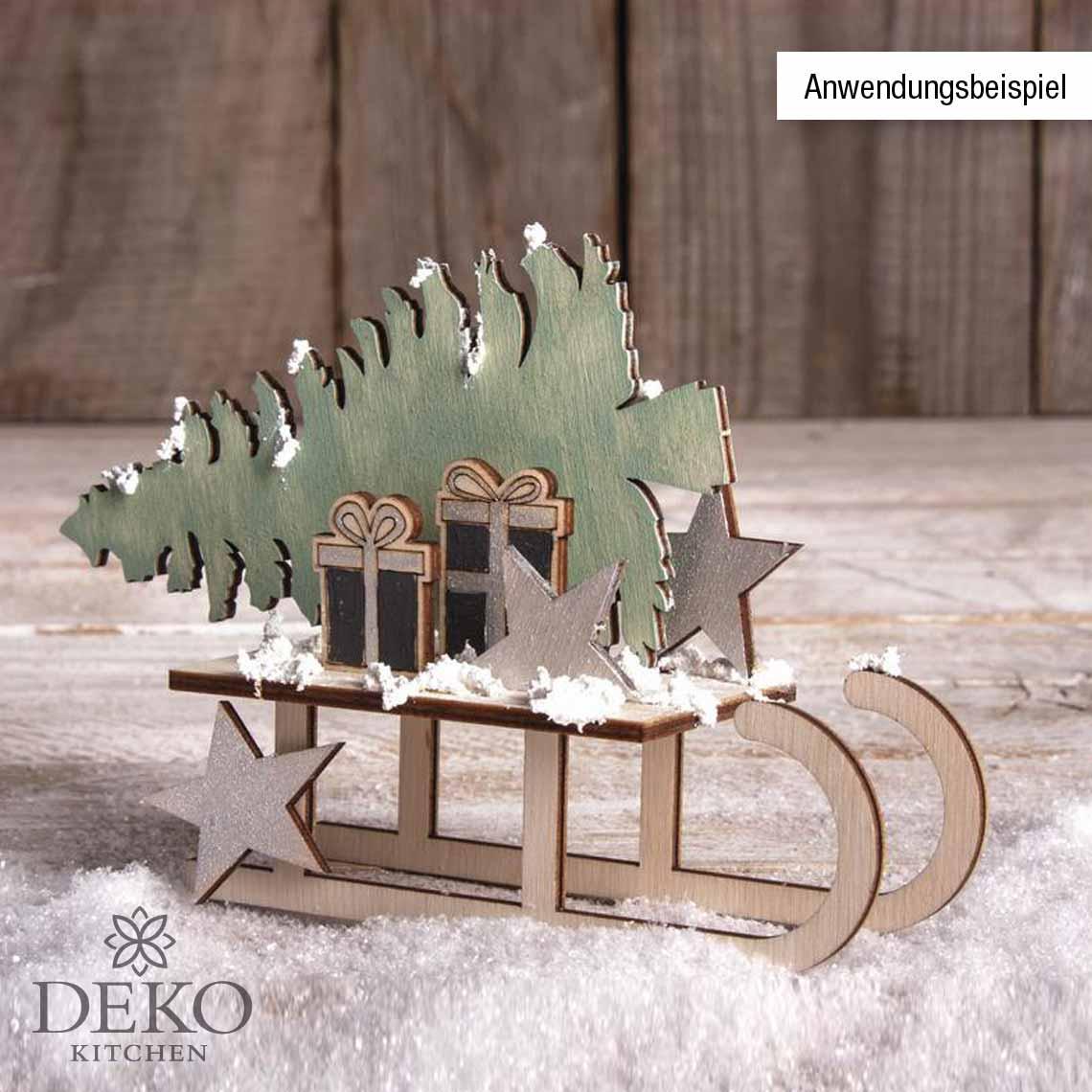 Holzbausatz Winterdream Mit Schlitten Und Geschenken Deko