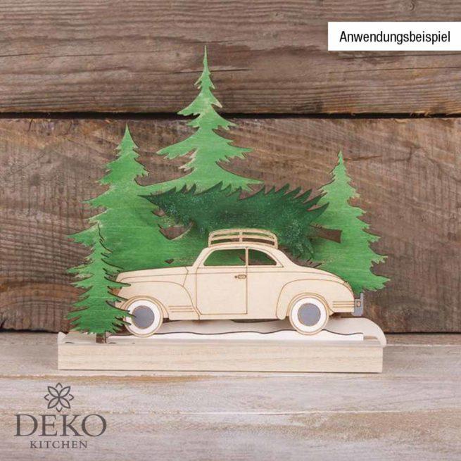 "Holzmotiv ""Bäume und Auto"""