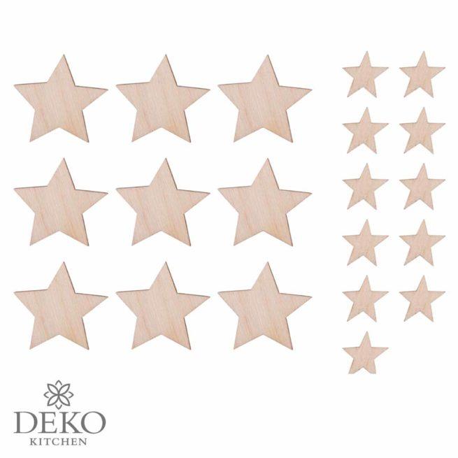 Holz-Streuteile Sterne in zwei Größen