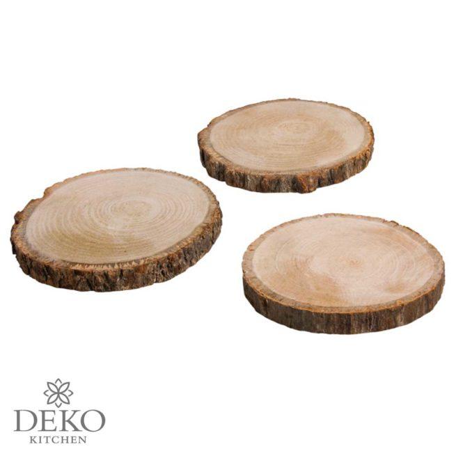 Holzscheiben rund natur, 10 - 12 cm, 3 Stk.