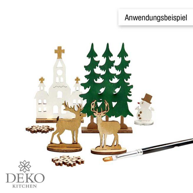 """Holzsteckteile """"Kirche, Weihnachtsbäume & Hirsche"""""""