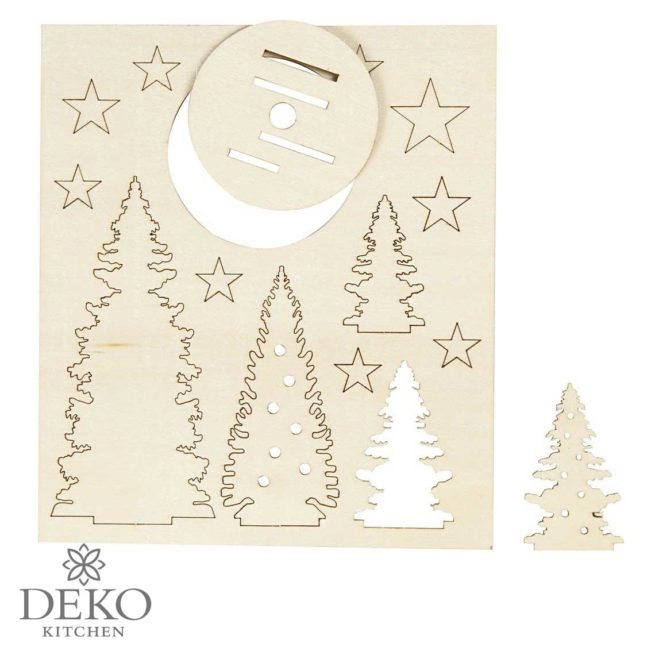 """Holzsteckteile """"Weihnachtsbäume und Sterne"""", 14-teilig"""